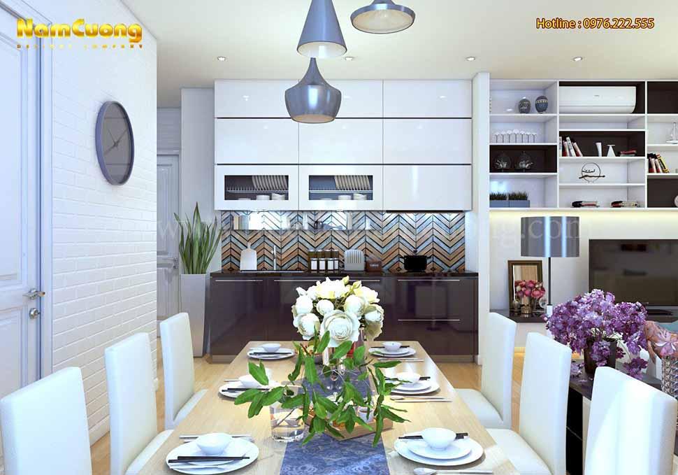 nội thất phòng bếp nhà phố mặt tiền 8m