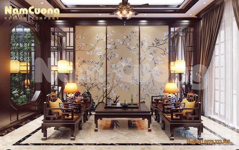 Mẫu thiết kế nội thất khách bếp phong cách Á Đông
