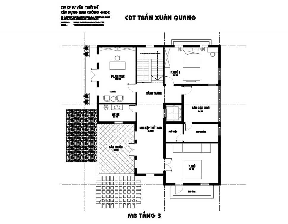 thiết kế nội thất tầng 3 biệt thự 100m2