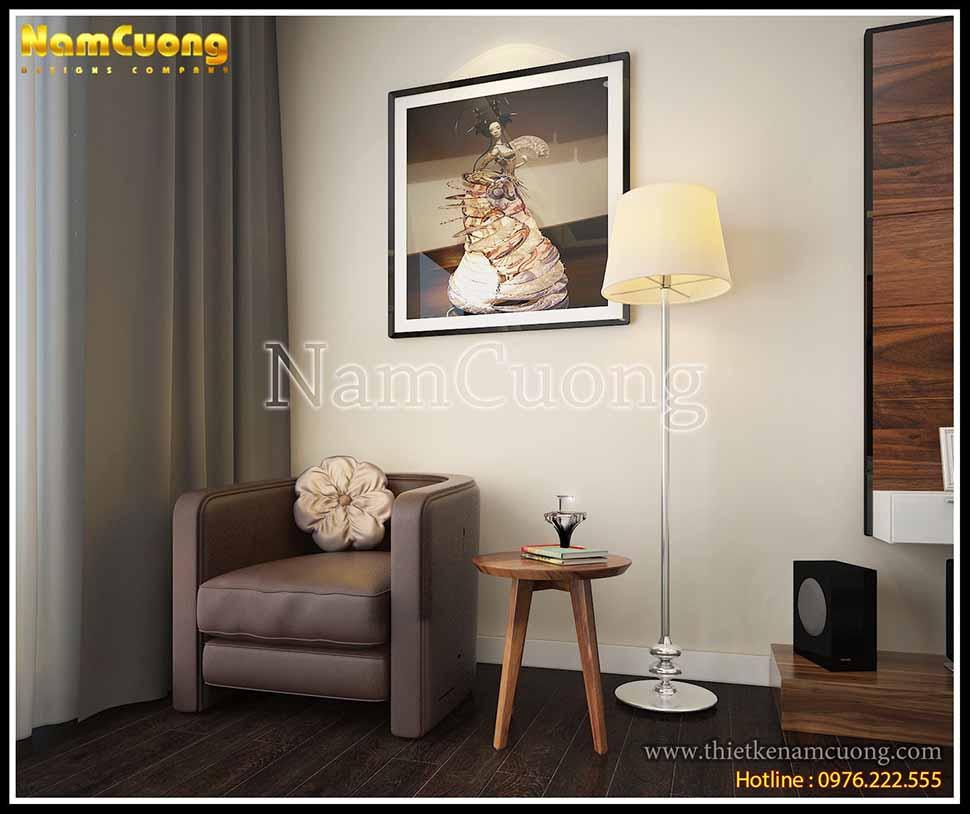 Chỉ đơn giản với bức ảnh treo, đèn và ghế nhỏ thiết kế độc đáo cũng làm nên nét cá tính, sáng tạo cho căn phòng