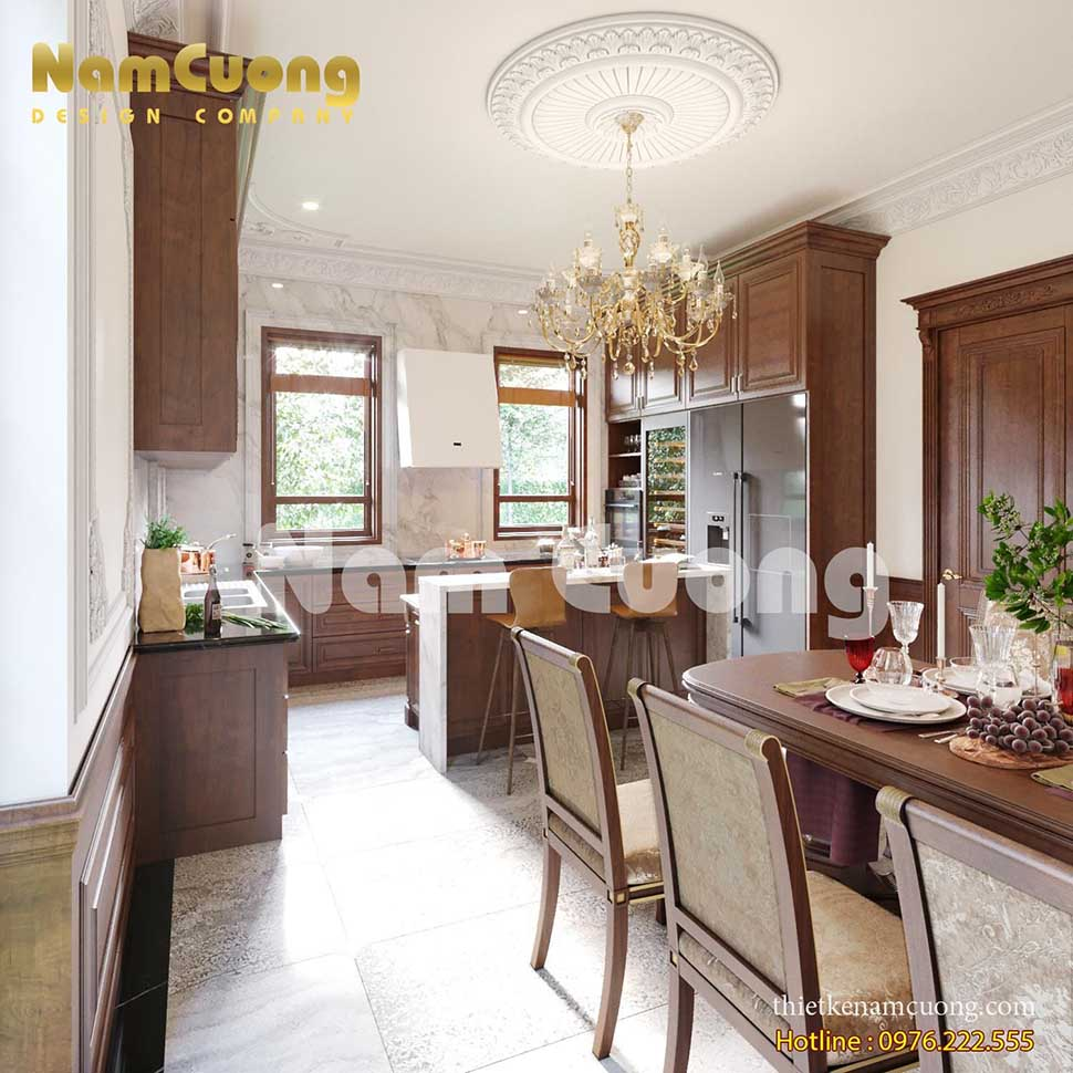 phòng bếp gỗ trong biệt thự