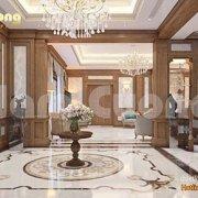 thiết kế nội thất khách bếp cho biệt thự tân cổ điển