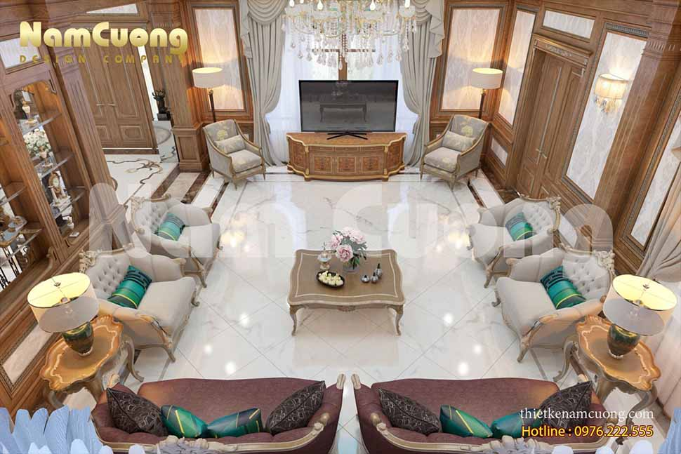 Mẫu thiết kế nội thất khách bếp cho biệt thự tân cổ điển
