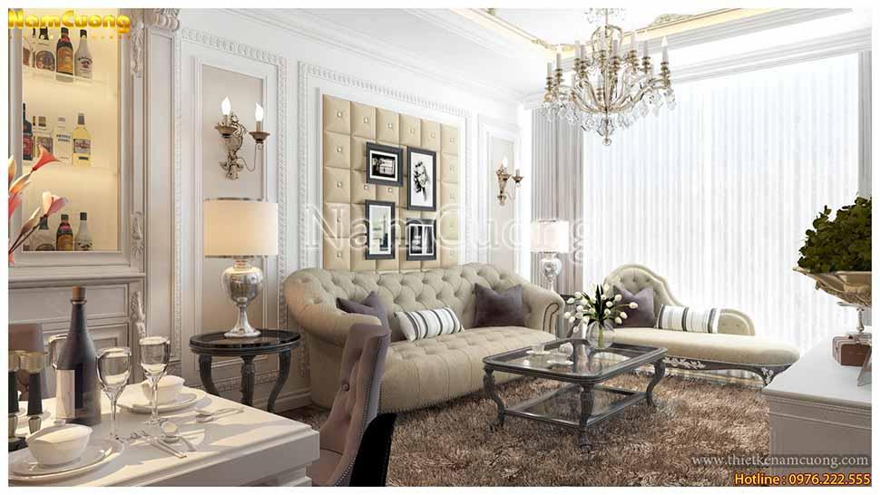 Bộ ghế sofa màu kem hài hòa với tông màu nền trắng chủ đạo