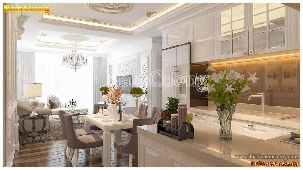 Bàn ăn gọn nhẹ mà tinh tế trong nội thất nhà chung cư 60m2
