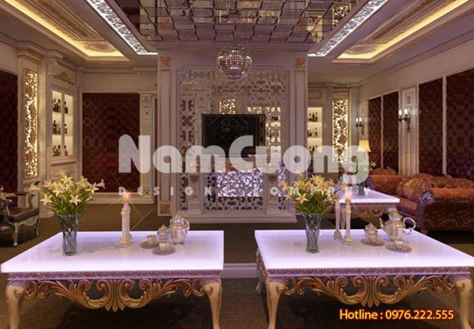 Phòng giải trí nội thất Pháp kiểu dáng, màu sắc cùng các hoa văn trang trí ấn tượng.