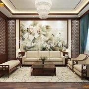 Mẫu nội thất phòng khách cổ điển Á đông tại Hà Nội