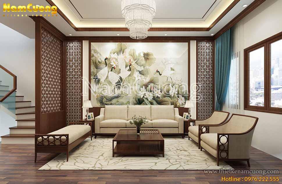 nội thất phòng khách á đông