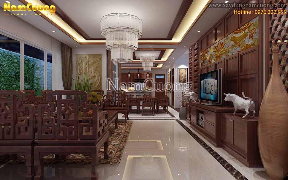 vẻ đẹp Nội thất phòng khách bằng gỗ