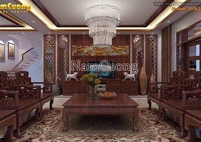 phòng khách gỗ tự nhiên