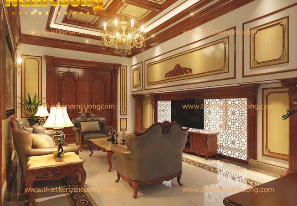 Ánh sáng vàng tạo nên sự ấm cúng và làm nổi bật các thiết kế nội thất kiểu dáng tinh tế đậm nét tân cổ điển