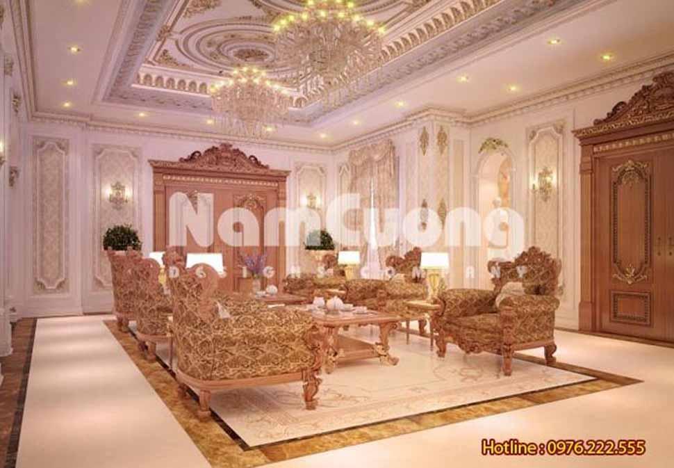 nội thất phòng khách kiểu Pháp