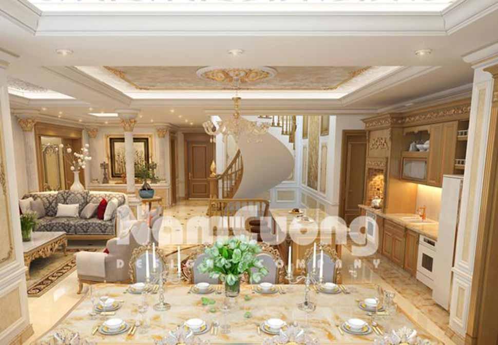 Phòng khách được thiết kế liền phòng bếp và phòng ăn