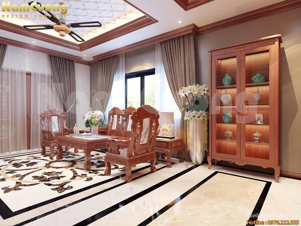 mẫu phòng khách thông bếp