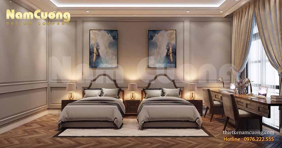 nội thất phòng ngủ biệt thự tân cổ điển tại hải phòng