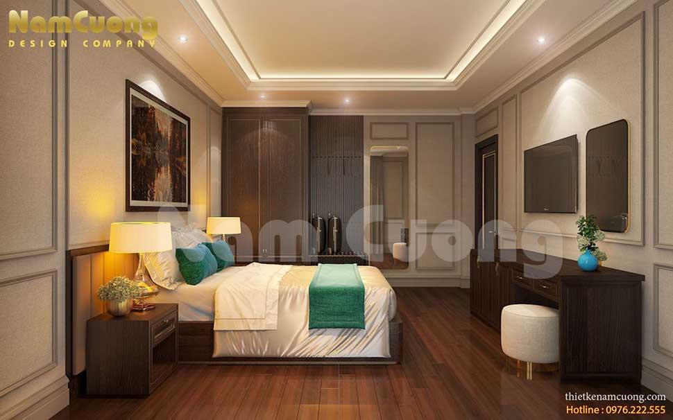 phòng ngủ ánh sáng vàng khách sạn