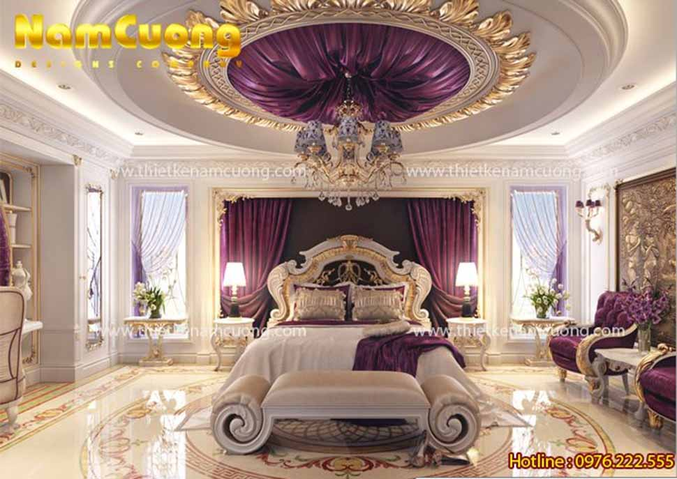 Mẫu nội thất phòng ngủ đẹp rộng 40m2 cho biệt thự Pháp