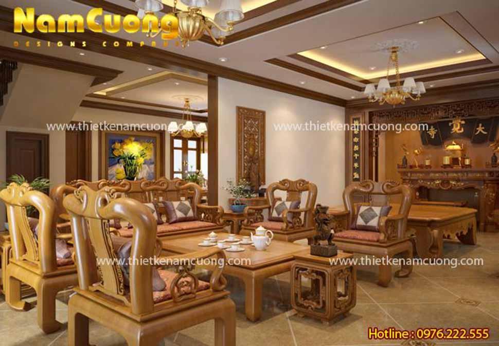 Mẫu phòng khách và phòng ăn nội thất tân cổ điển