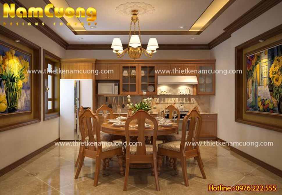 Khu bếp tiện nghi thiết kế liền bàn ăn