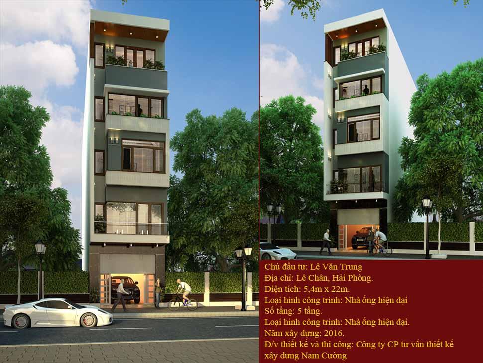 thiết kế nhà 5 tầng hiện đại