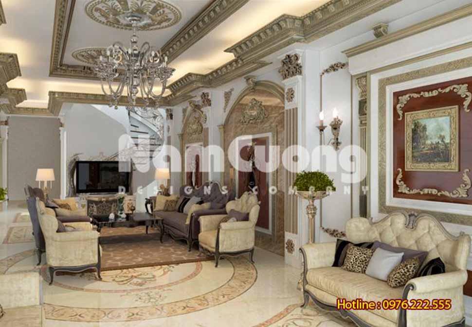 Nội thất phòng khách Pháp sang trọng, đẳng cấp với họa tiết trang trí cầu kì đẹp mắt
