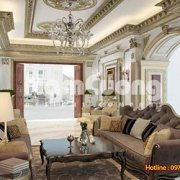 Mẫu nội thất phòng khách Pháp rộng 30m2