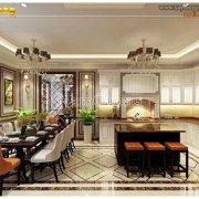 phòng khách bếp liên thông tân cổ điển