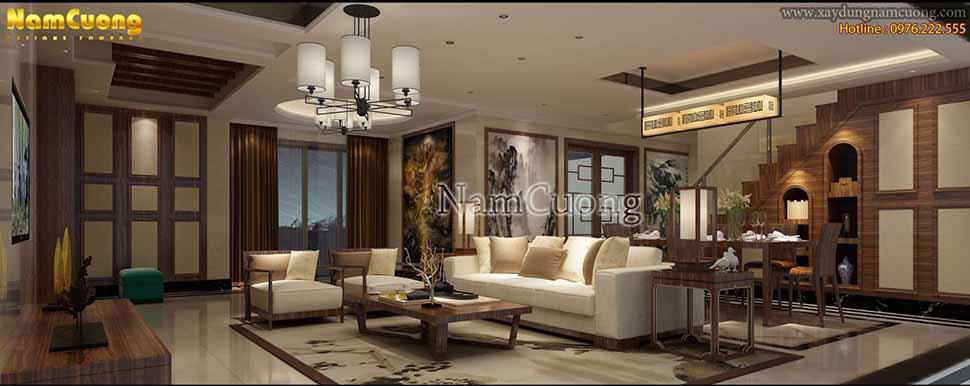 mẫu thiết kế phòng khách biệt thự
