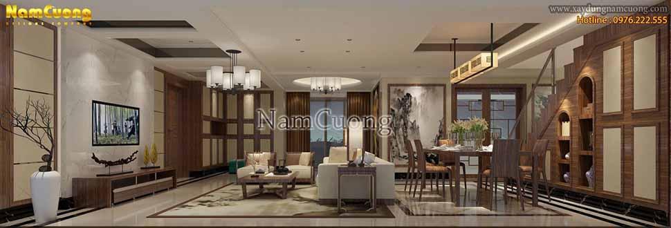 Mẫu phòng khách biệt thự hiện đại đẹp tại Quảng Ninh