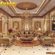 Mẫu nội thất phòng khách đẹp biệt thự kiến trúc Pháp