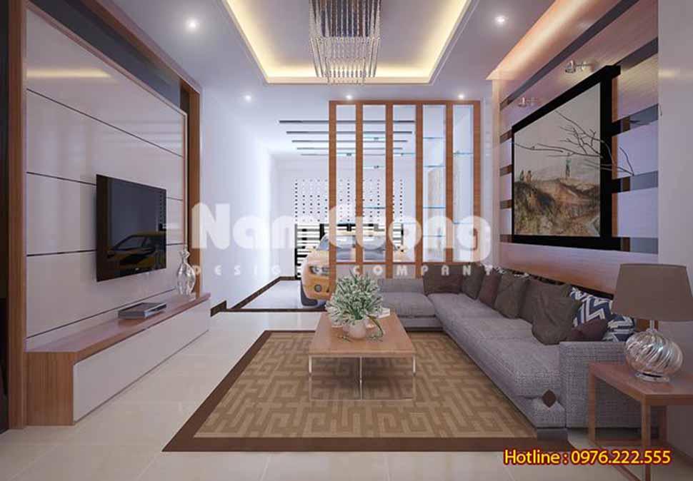 Thiết kế nội thất phòng khách hiện đại rộng 24m2