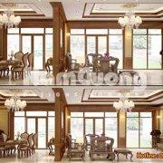 Mẫu phòng khách kết hợp phòng ăn trong biệt thự tân cổ điển rộng 55m2