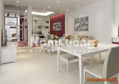 Mẫu thiết kế nội thất phòng khách liền phòng bếp hiện đại - PKBHD 04
