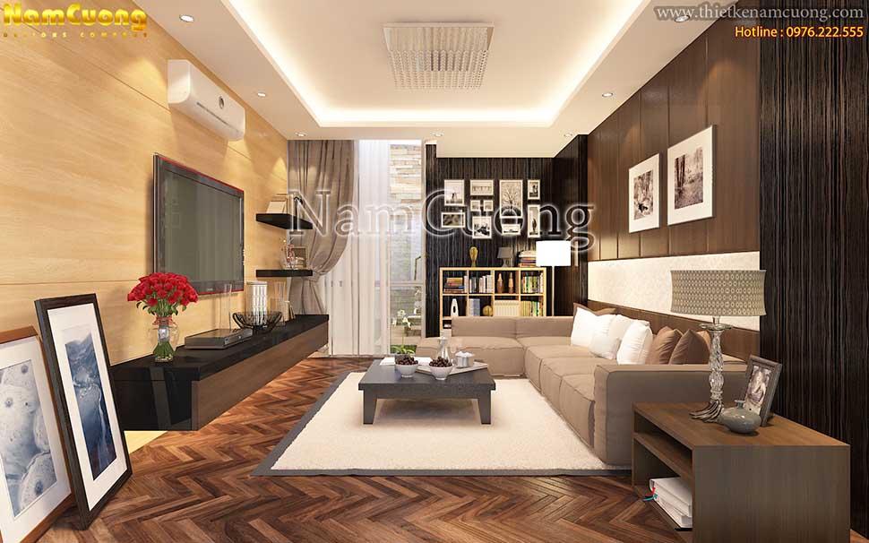 sàn gỗ của phòng khách nhà ống 5m