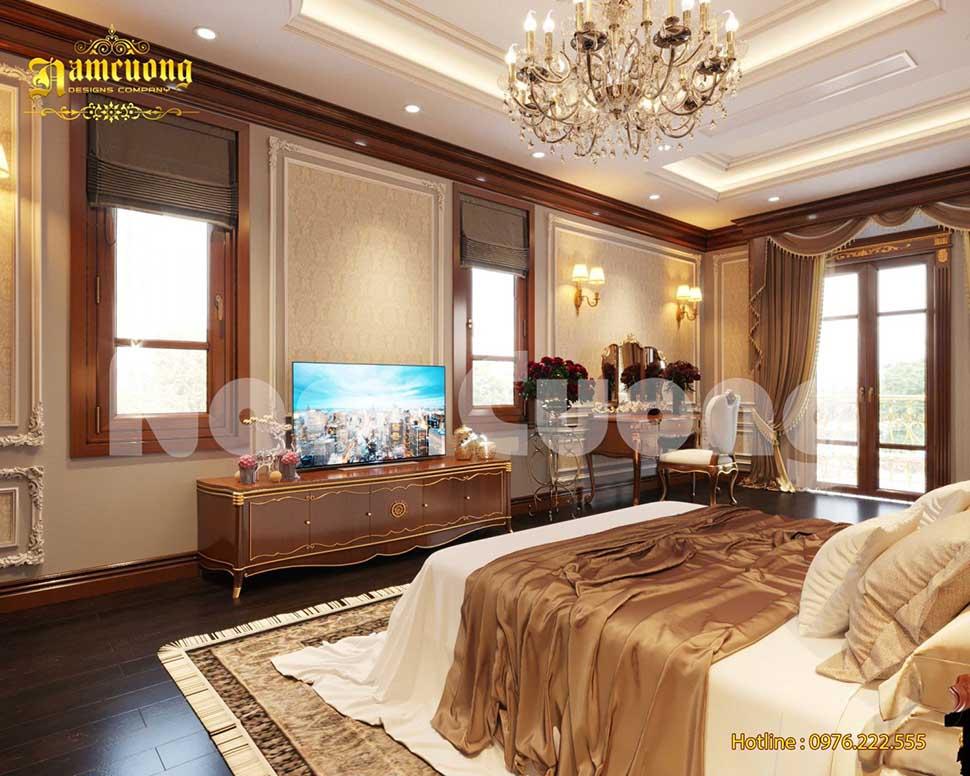 phòng ngủ bố mẹ phong cách tân cổ điển với gam màu sang trọng