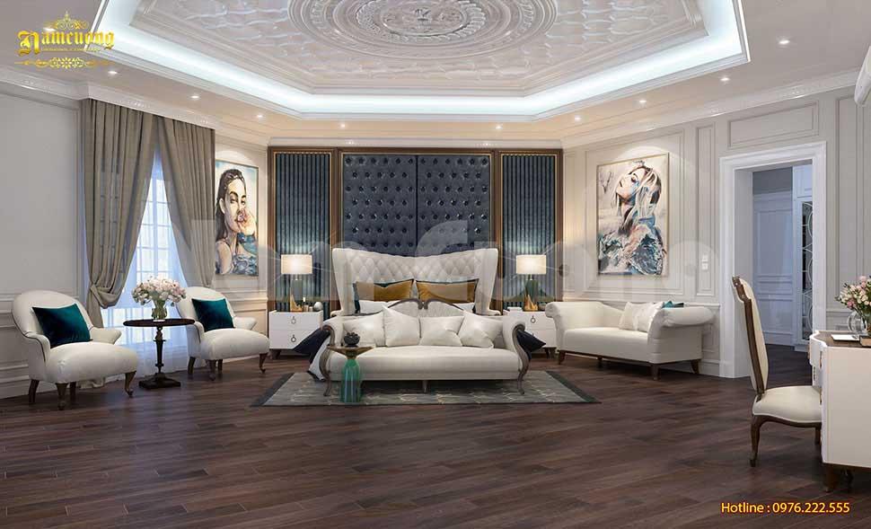 phòng ngủ bố mẹ phong cách tân cổ điển có chất liệu cao cấp