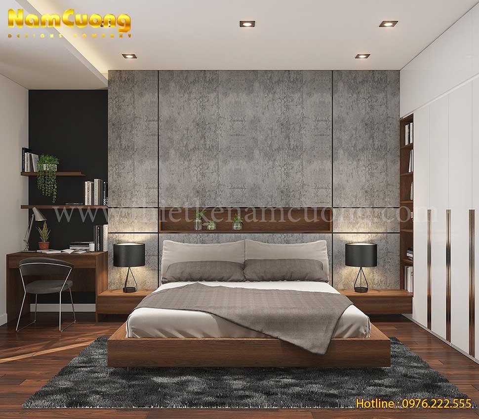 phòng ngủ màu nâu gỗ sang trọng