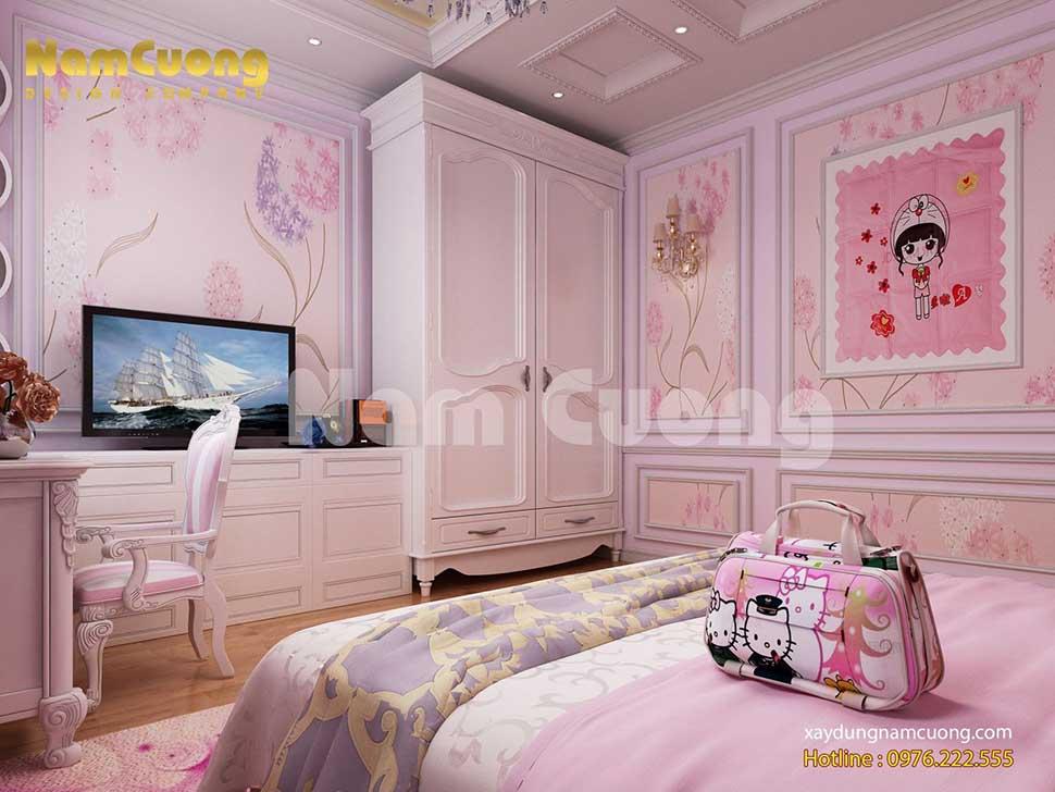 mẫu phòng ngủ màu hồng hello kitty