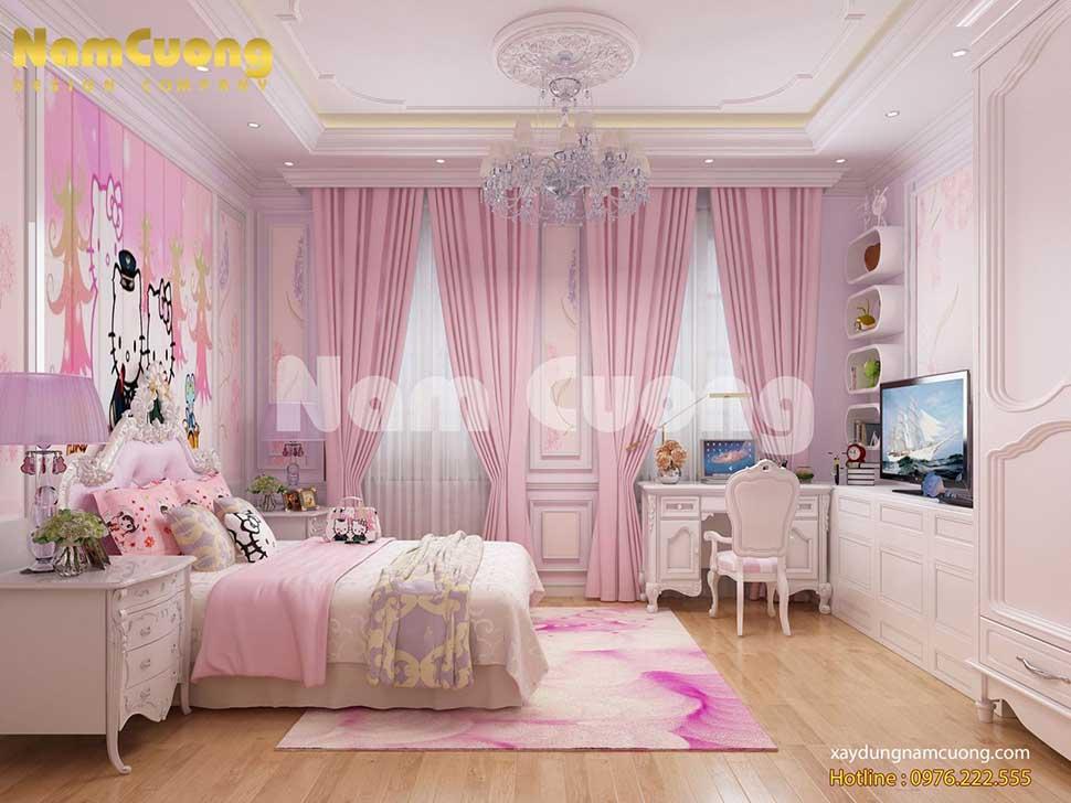 nội thất phòng ngủ màu hồng