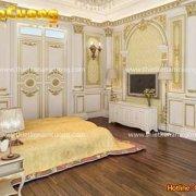 Mẫu nội thất phòng ngủ màu vàng phong cách Pháp