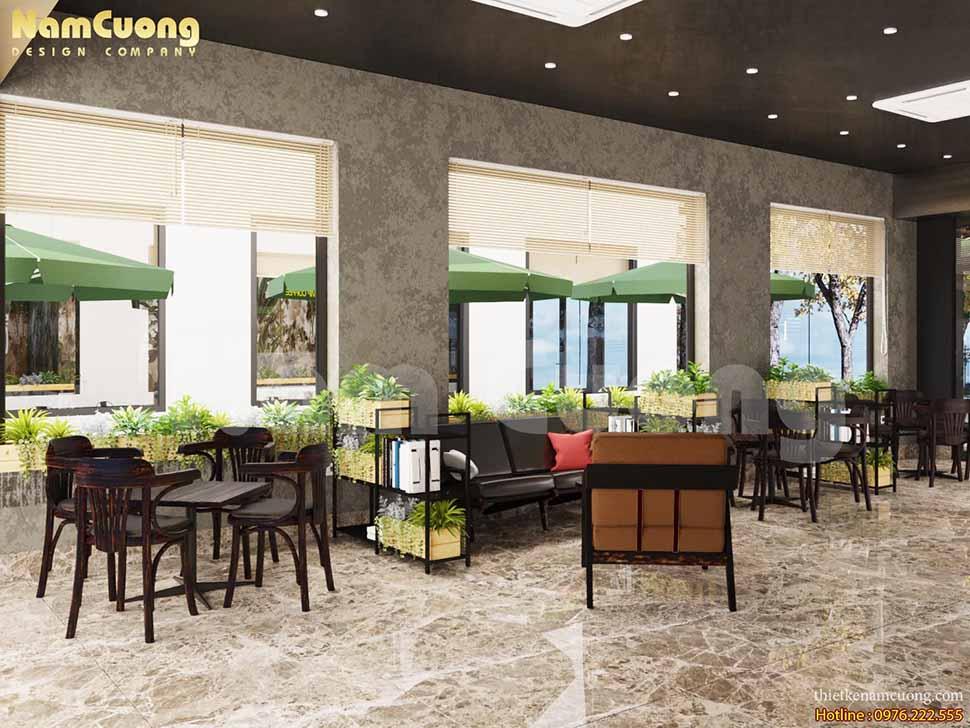 không gian xanh trong quán cafe