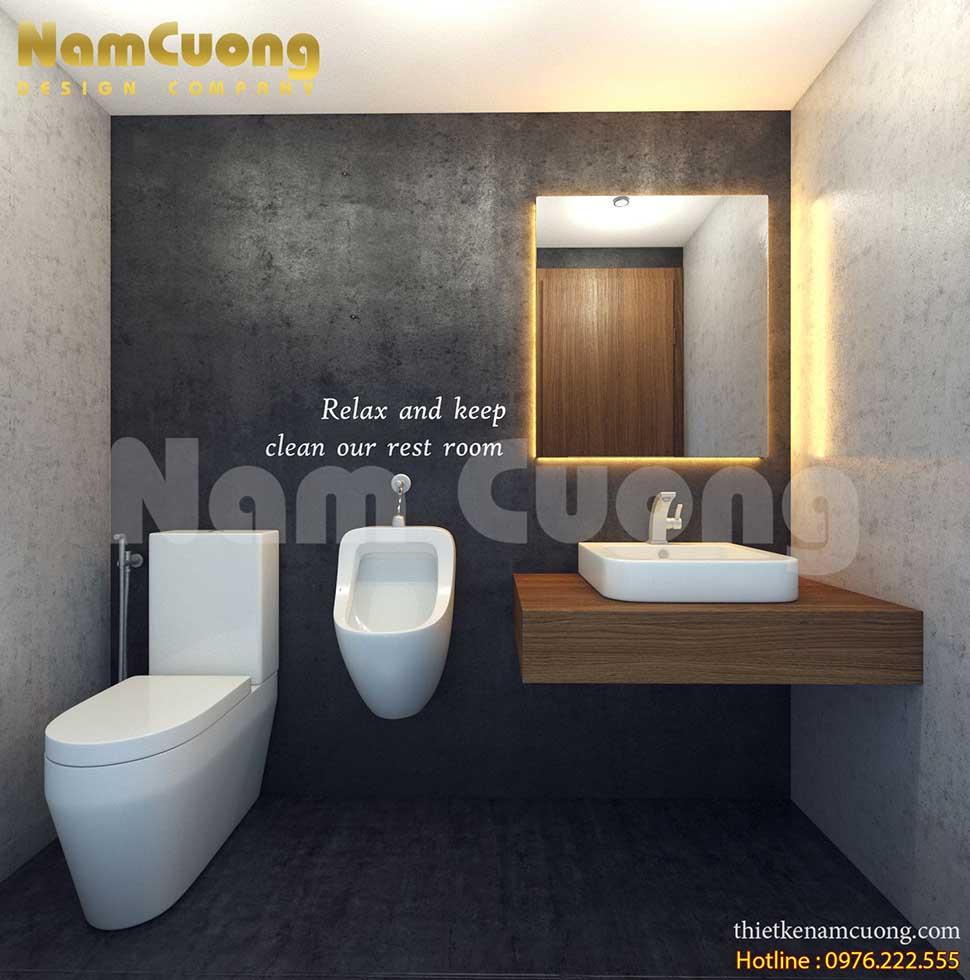 thiết kế phòng wc quán cafe