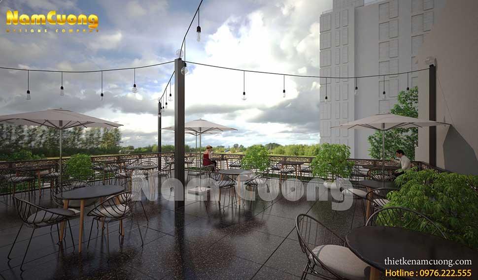 sân thượng quán cafe không gian xanh