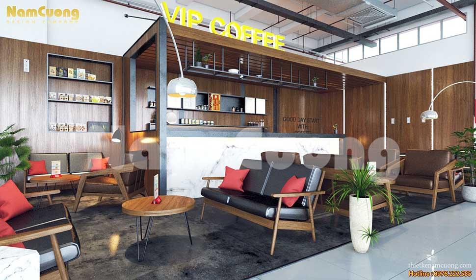 không gian quán cafe mộc