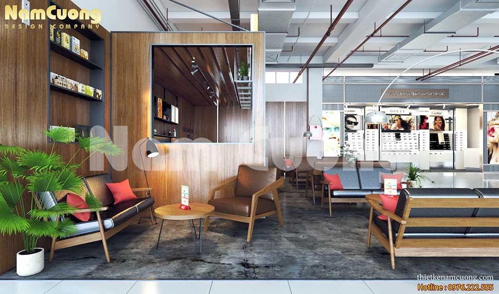 nội thất quán cafe trung tâm thương mại