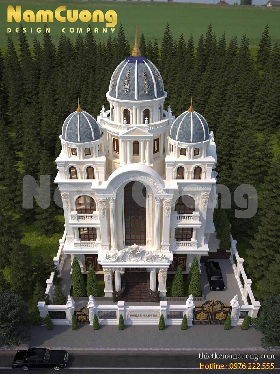 Thiết kế biệt thự lâu đài Pháp với phần mái hình vòm rất đặc sắc và mang đậm phong cách Pháp