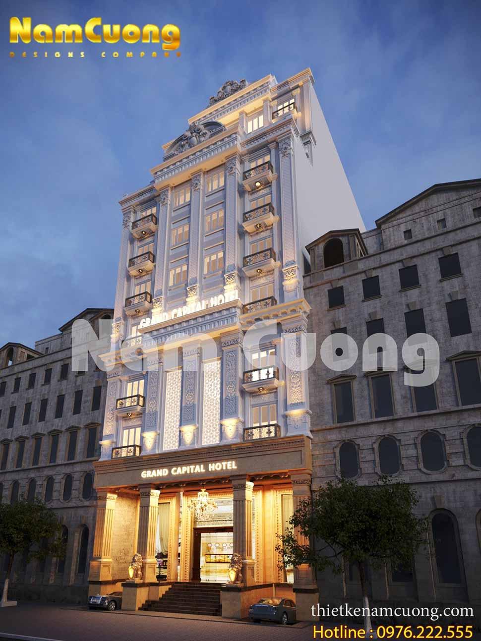 Mặt tiền lộng lẫy của mẫu thiết kế khách sạn tân cổ điển