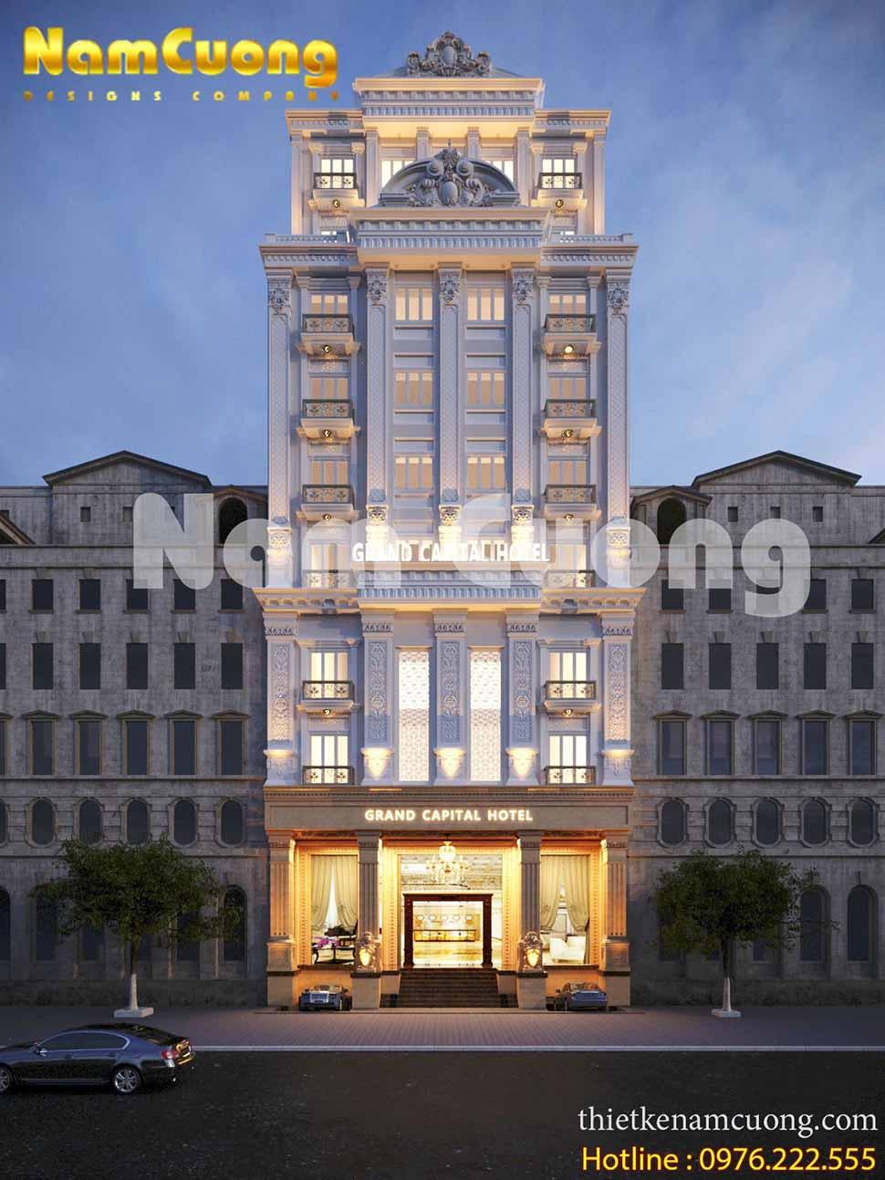 Mặt tiền lộng lẫy của mẫu thiết kế khách sạn 8x20 tân cổ điển