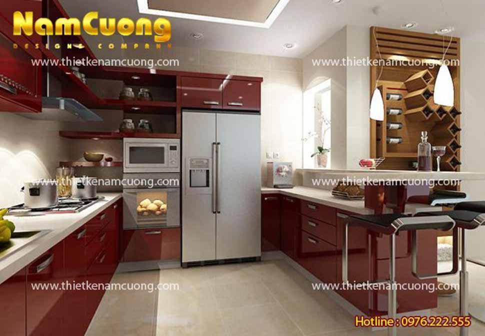 nội thất phòng bếp nhà ống 5 tầng 4x12m