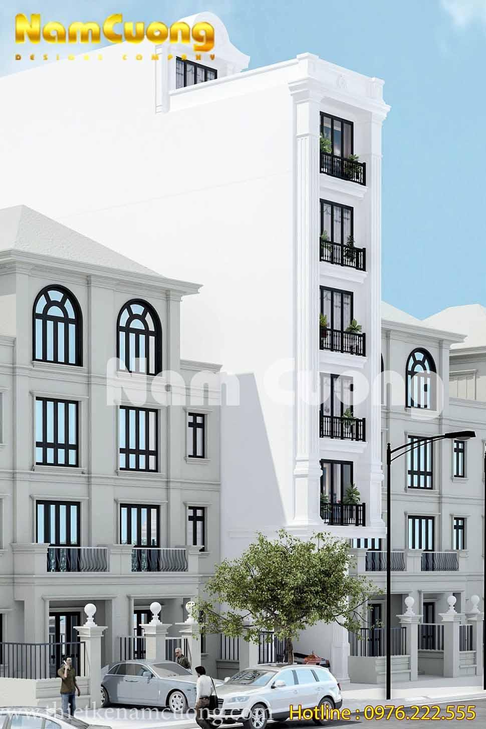 mẫu nhà phố 7 tầng đẹp